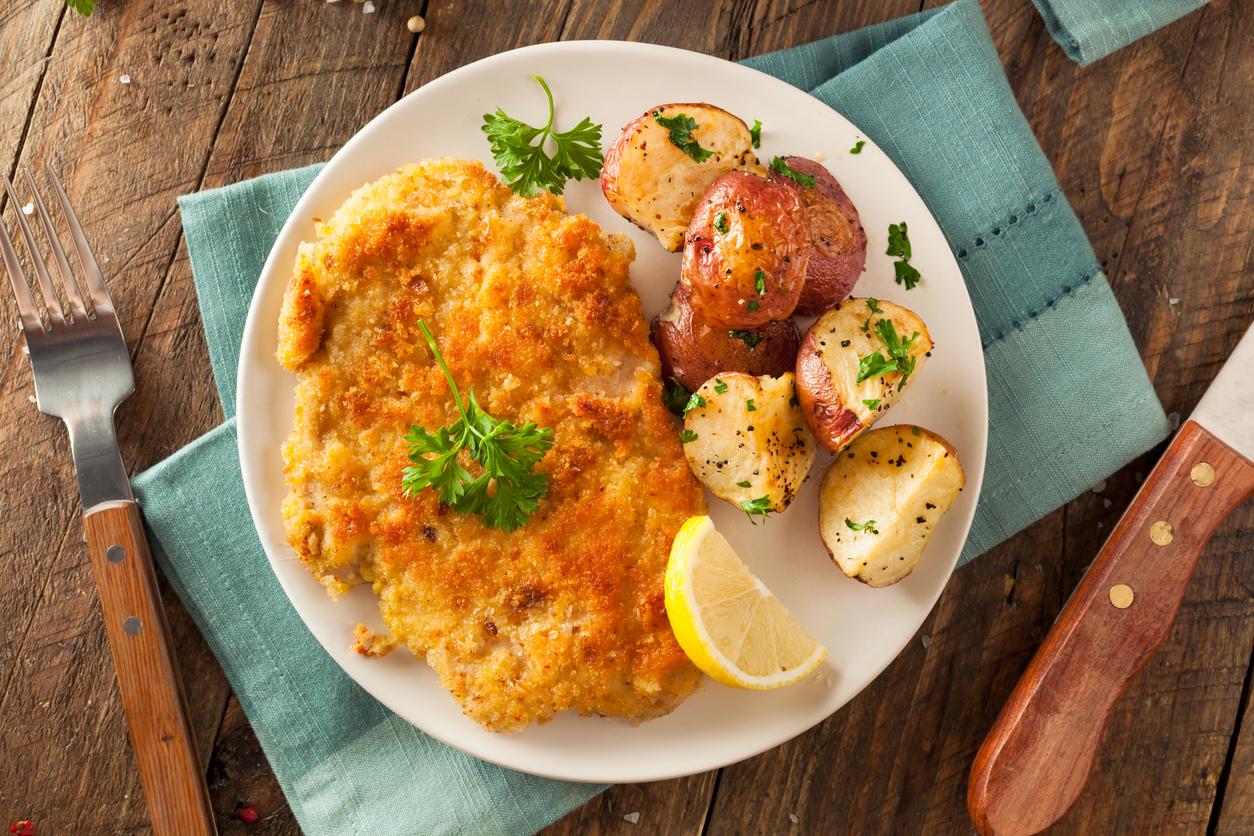 Homemade Breaded German Weiner Schnitzel with Potatoes