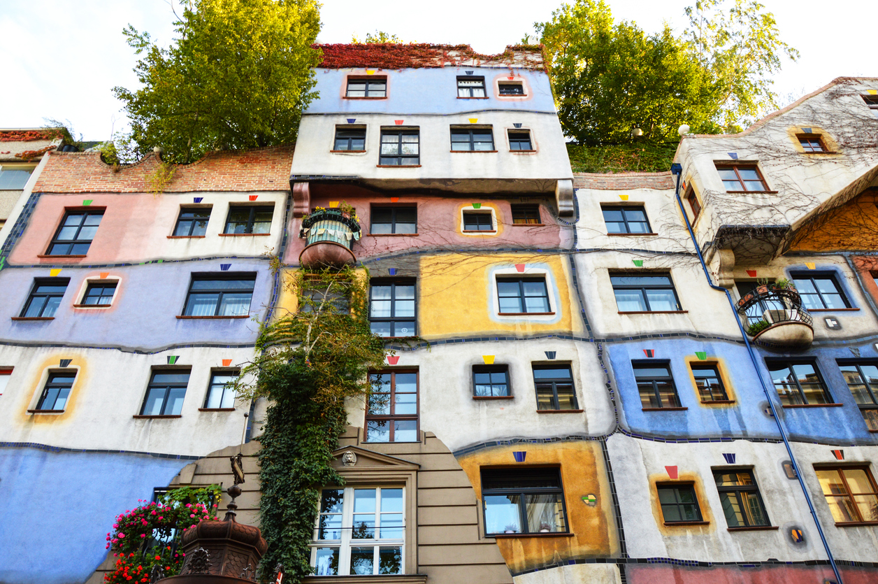 VIENNA - OCTOBER 13 2012: Hundertwasser Haus on OCTOBER 13 2012 in Vienna. The iconic building by famous architect is one of reasons to visit Vienna