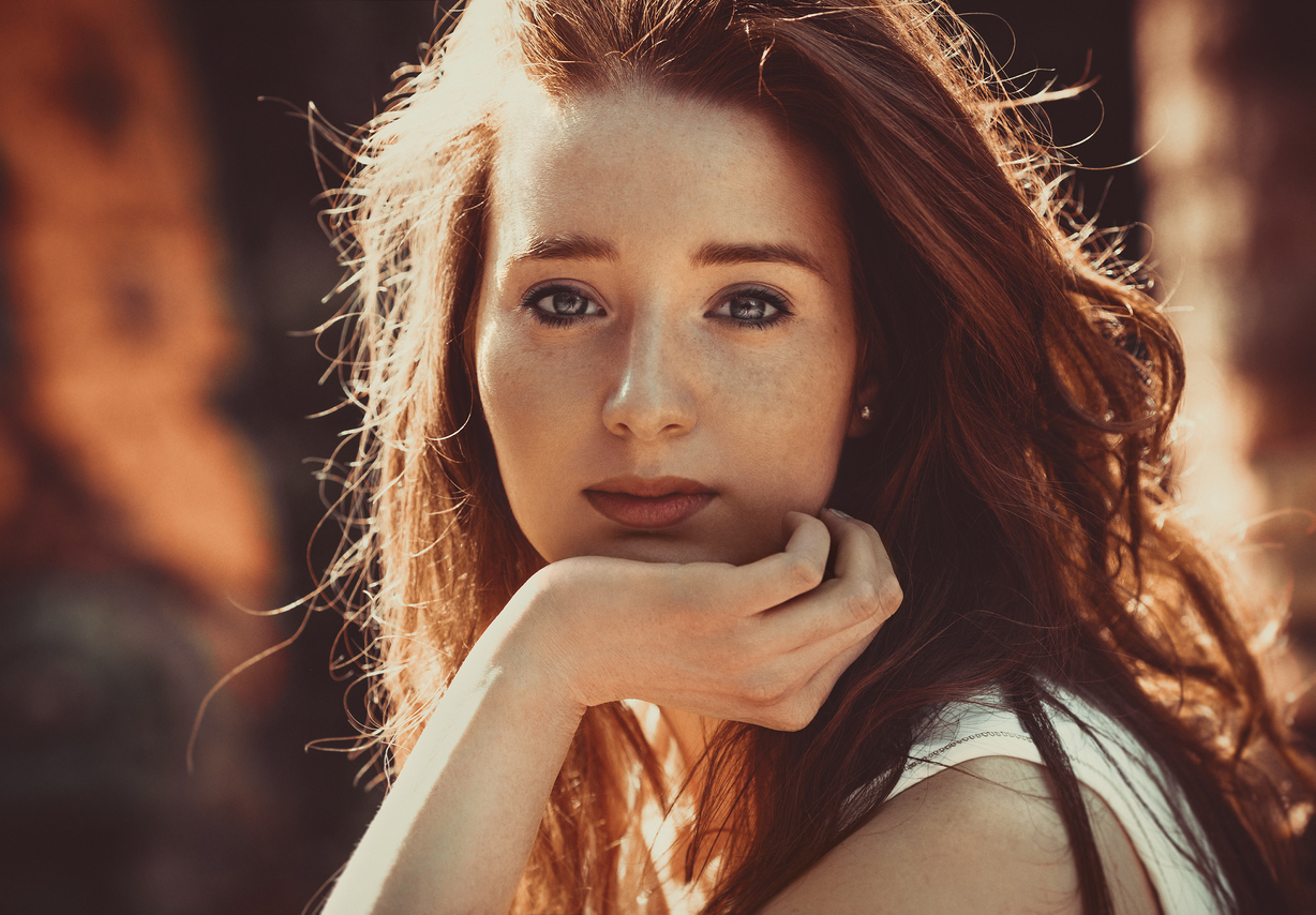 Red hair woman beauty portrait.