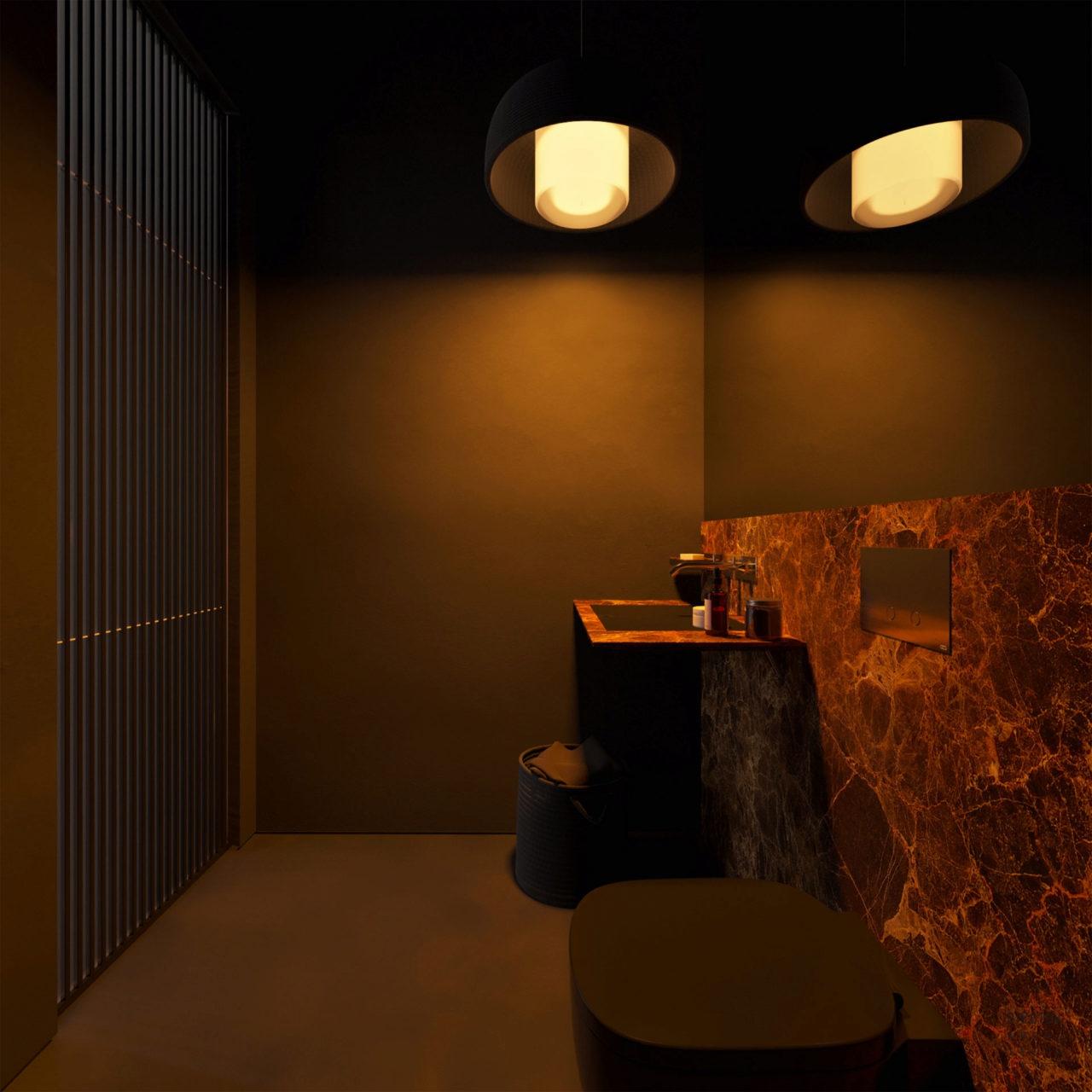 De inrichting van deze woning straalt pure perfectie uit fem fem - Donker mozaieken badkamer ...
