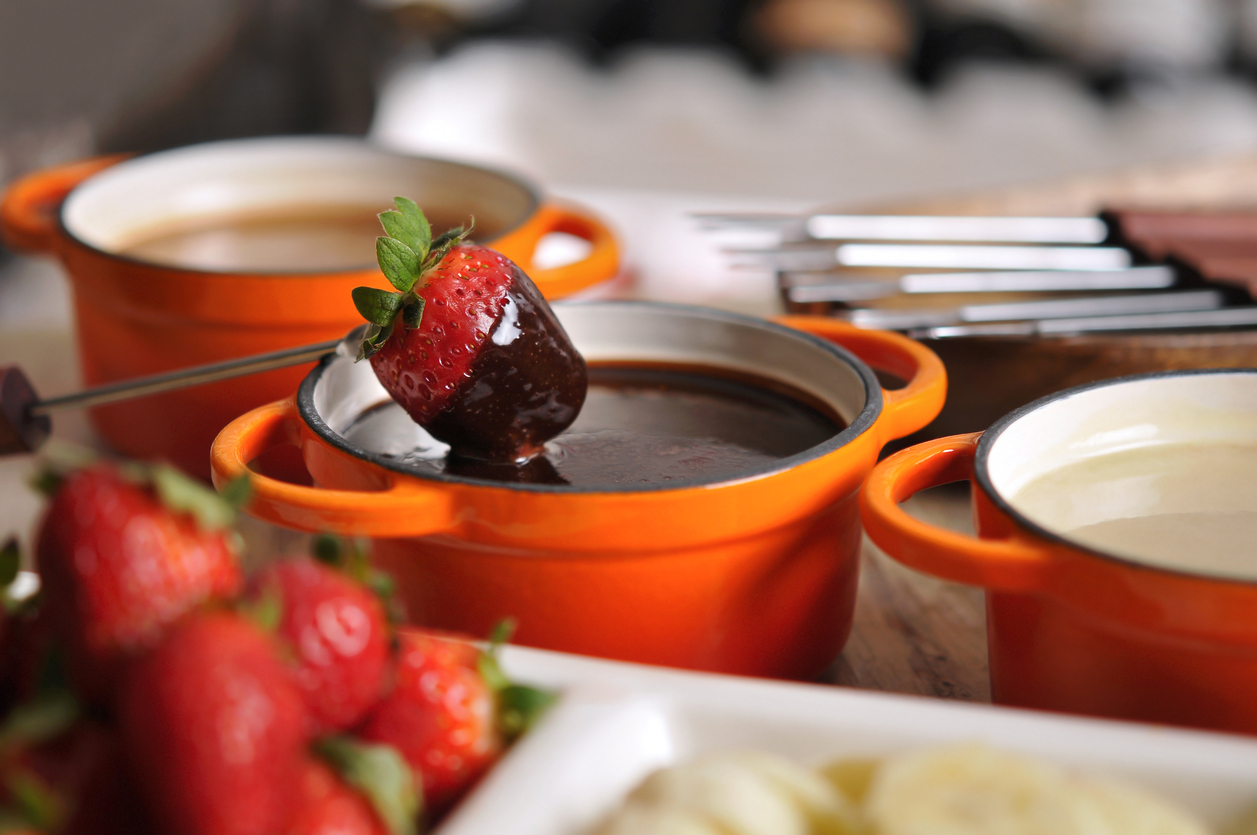 Fondue with strawberry and chocolate