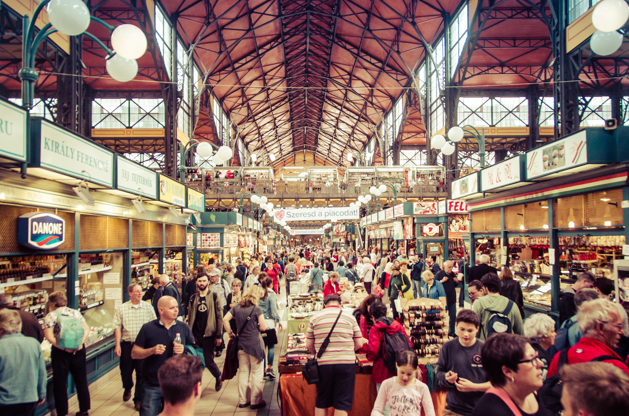 Budapest, Hungary - May 26, 2015: Shoppers and tourists wander the main market hall in Budapest, Hungary.