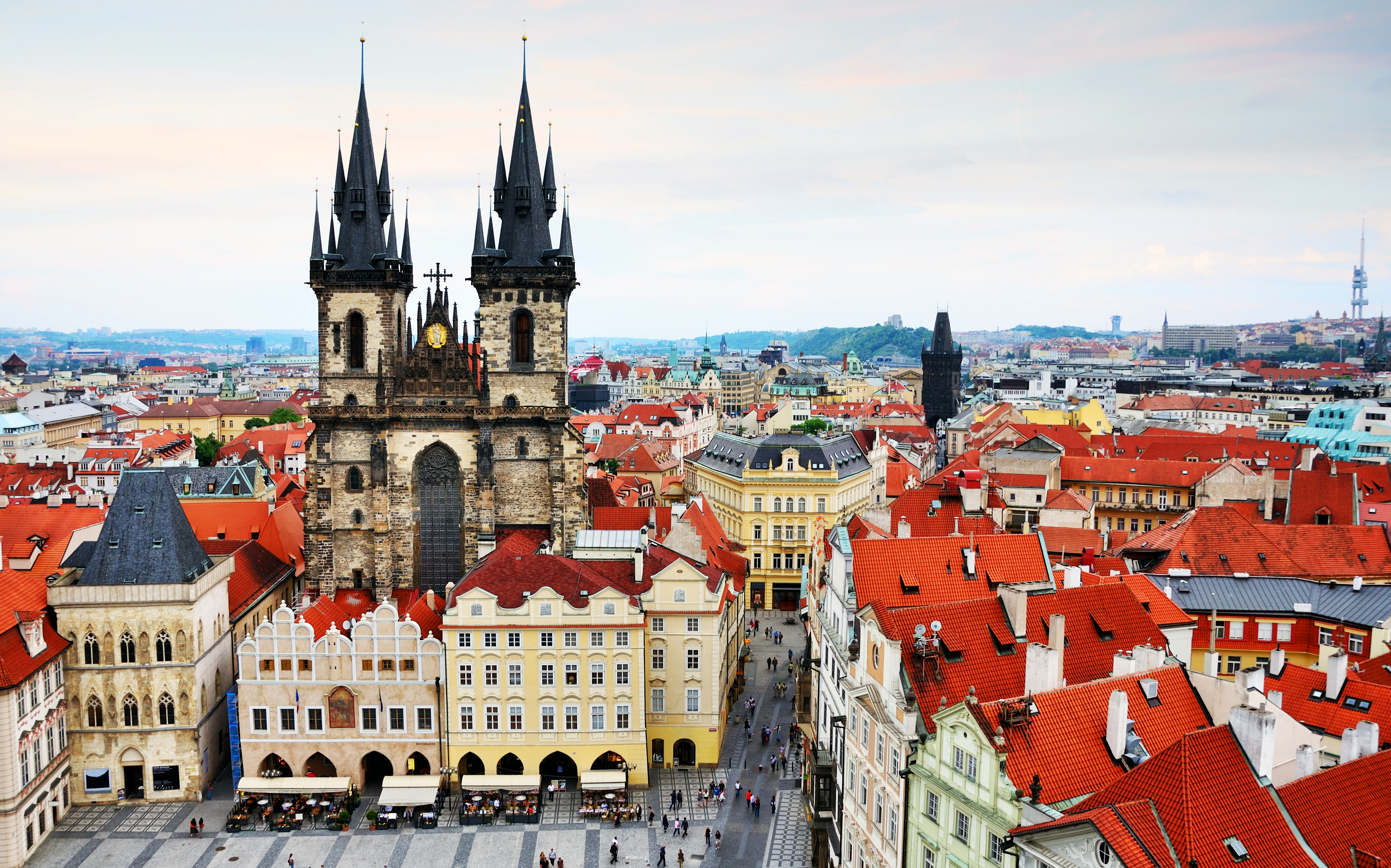 Panoramic view of the Old Town Square in Prague, Czech Republic