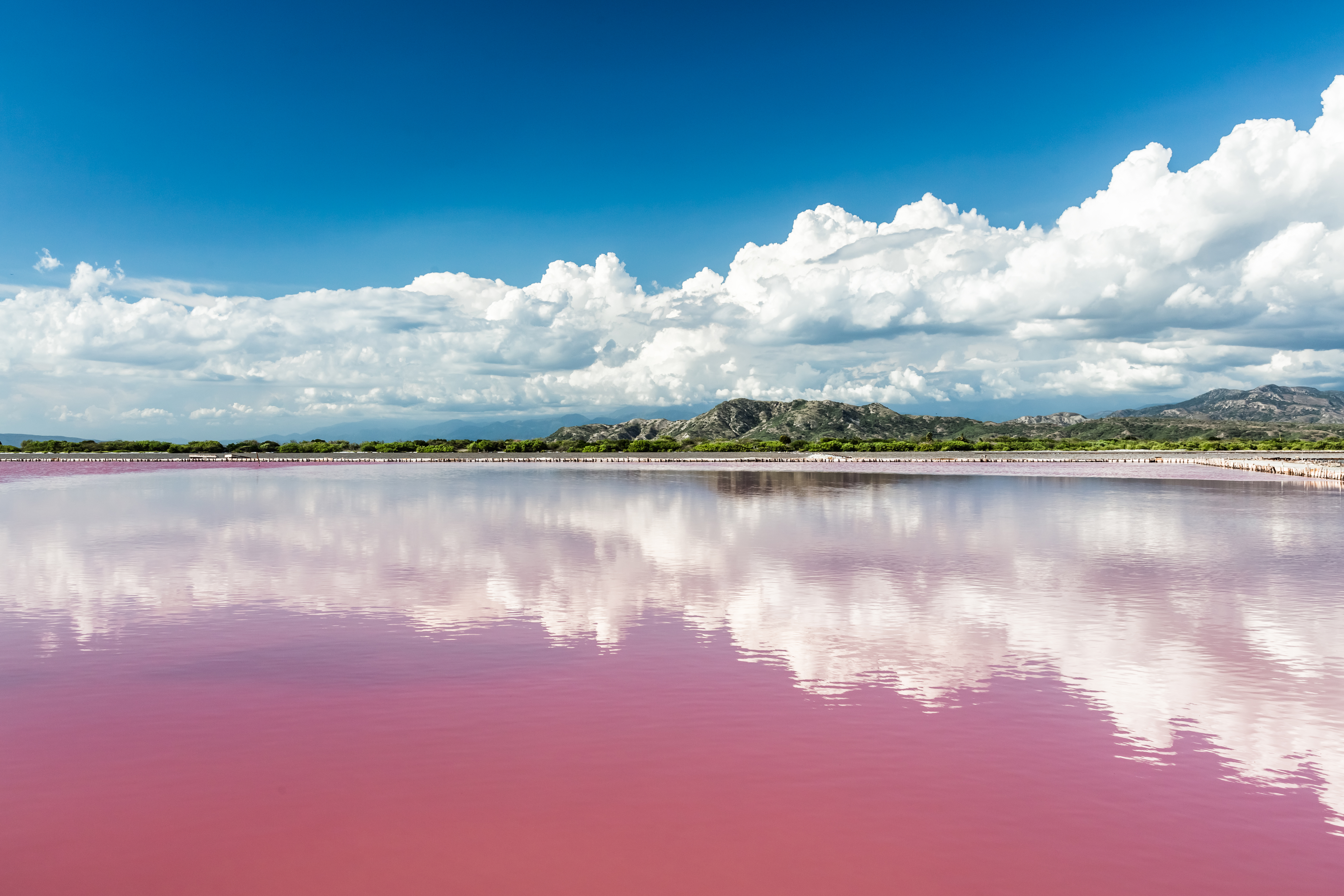 Landscape with Pink water salt lake in Dominican Republic