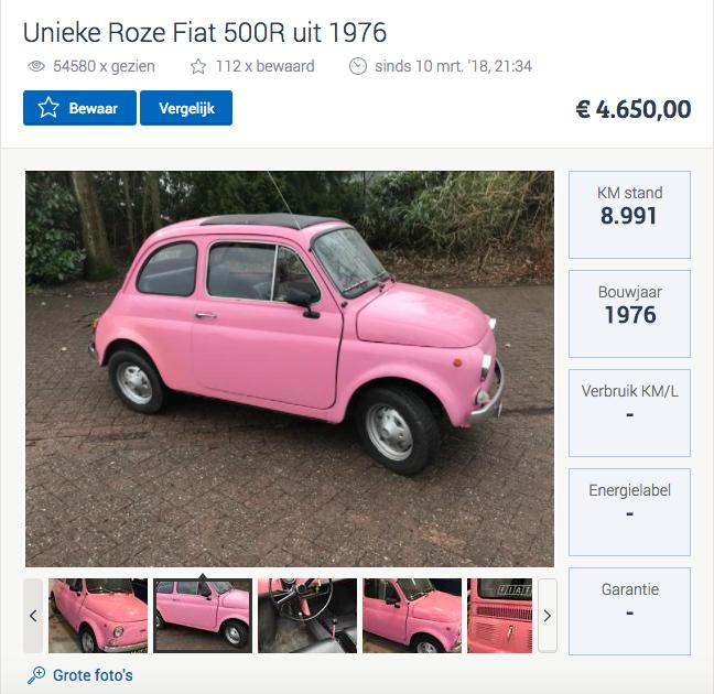 roze fiat 500 fem fem