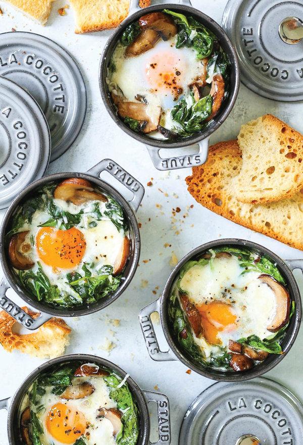 gebakken eieren met spinazie FEM FEM