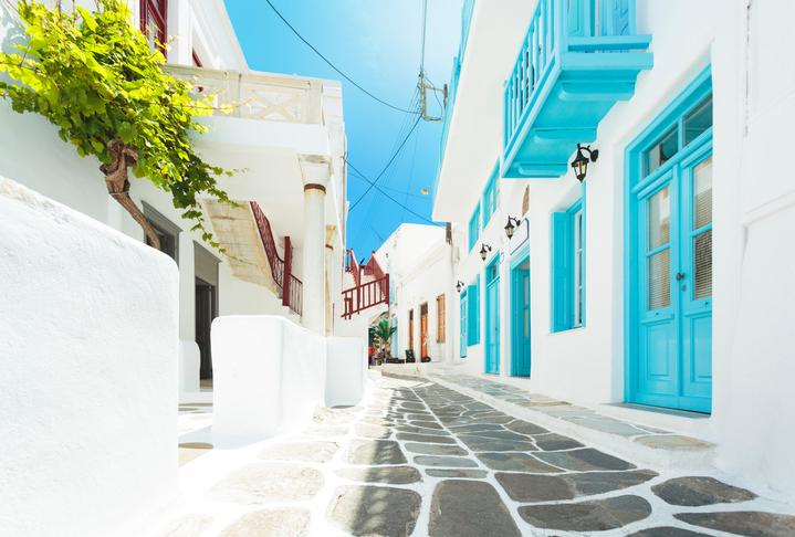 Narrow street in Mykonos, Greece.