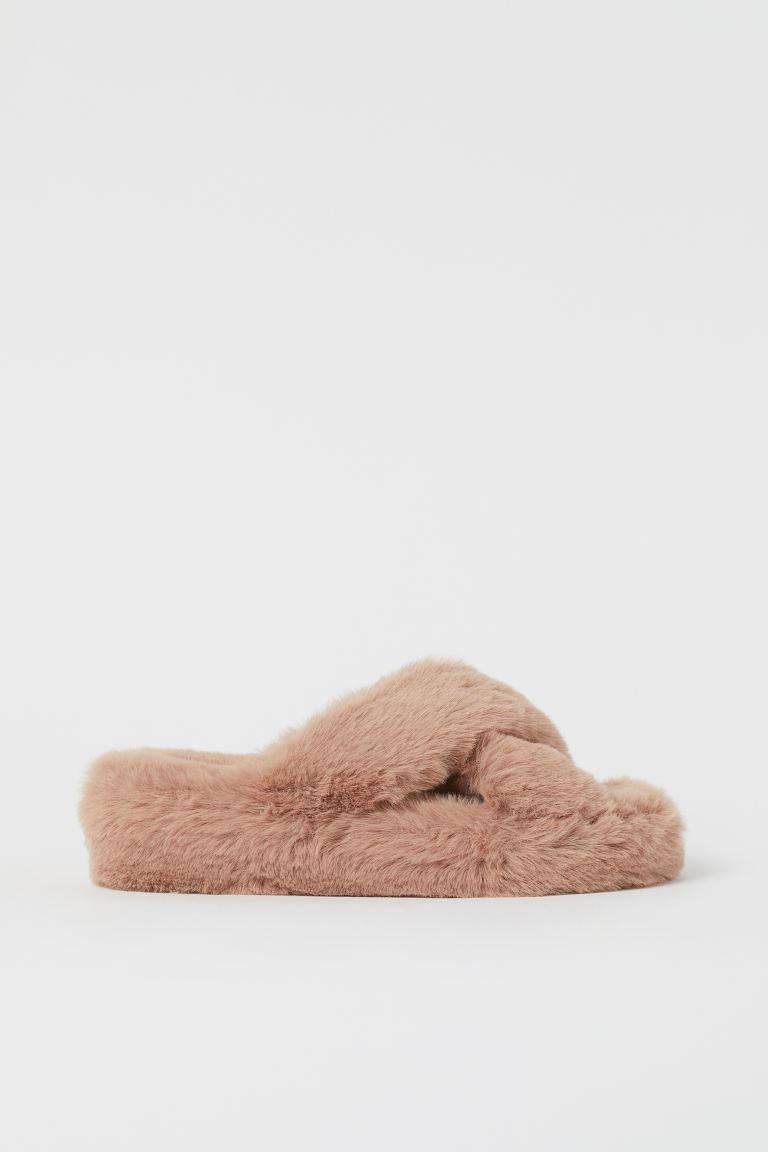 slippers met imitatiebont