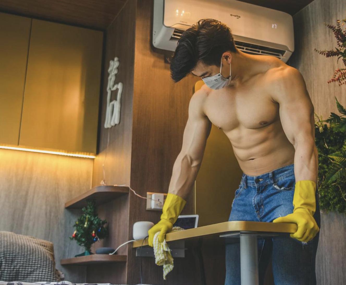 shirtloze mannen schoonmaken fem fem
