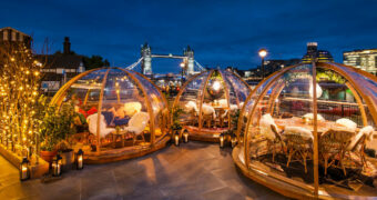 Dineren in je persoonlijke, verwarmde iglo met uitzicht op de Tower Bridge